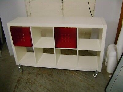 White Retail Cube Shelving Unit Display Table Rack  W/ Wheels