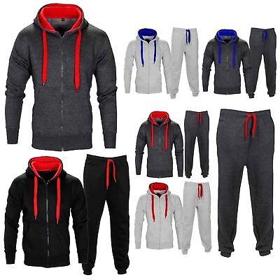 New Gym Sports Mens Full Tracksuit Set Jogger Fleece Zipper Top Bottom Plus Size