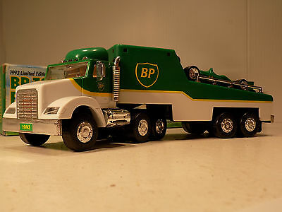 Gas Advertising  RACE CAR CARRIER TRACTOR TRAILER & CAR WORKING LIGHTS BP OIL CO
