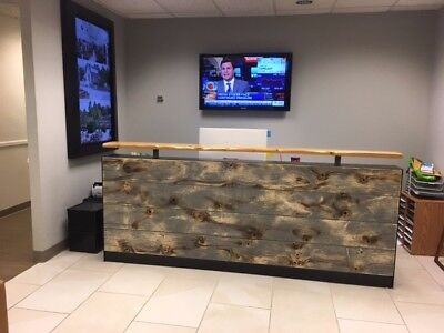 8ft Memphis reception desk made with reclaimed wood and metal