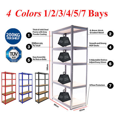 5 Tier Boltless Garage Racking Metal Shelving Workshop Storage Rack Unit 1800H