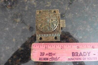 Brass Latch Vintage spring lock cabinet Door cupboard Salvage Antique Star 1871