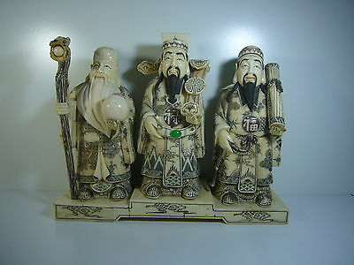 Antique Chinese Fu, Lou and Shou 福禄寿 Bone fine Carved 3 Lucky Gods 3大祭司运气 19th.