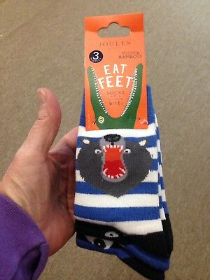 Joules Bamboo Eat Feet Socks 3 Pair Pack New