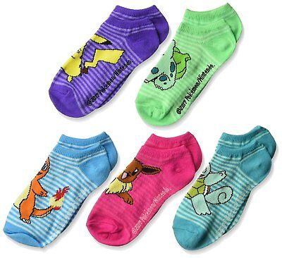 """Pokemon Girls' """"Striped Play"""" 5-Pack Ankle Socks No Show"""