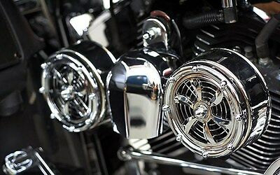 SD-320 Love Jugs Slotss Chrome Engine Cooling Fans for Harley Motorcycles