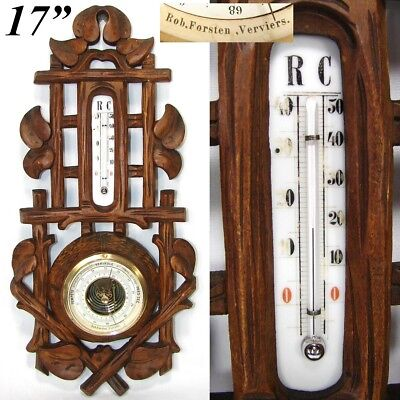 "Antique Victorian Era Black Forest Style 17 3/8"" Wall Barometer & Thermometer"
