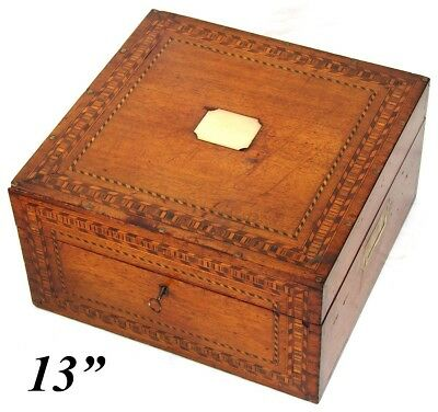 "Antique Victorian Era 13.5"" Tunbridge Style Chest, Box, Ornate Marquetry Inlay"