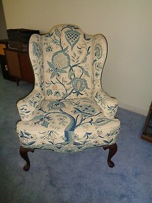 Vintage Mary Webb Wood Woodmark Originals Wingback Embroidered Chair