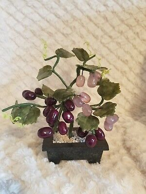 Antique Chinese Oriental Bonsai Wired Trunk Tree w/ Glass Grapes & Leaves