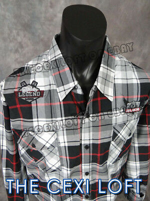 Mens NEW YORK Button Shirt Black Patch Plaid Pleated Pockets BIG SIZE USA FITS