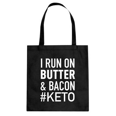 Tote I Run on Butter and Bacon Canvas Shopping Bag #3330