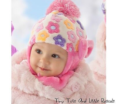 Infant Baby Girls Winter Mink Plush Flowers Bow Hat & Scarf Set Occasion 6 - 24