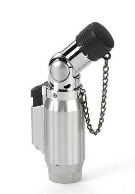 Vertigo Intimidator Quadruple Torch Lighter - Brushed Chrome & Chrome