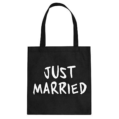 Just Married Cotton Canvas Tote Bag #3317