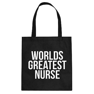 Tote Worlds Greatest Nurse Canvas Shopping Bag #3397