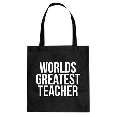 Tote Worlds Greatest Teacher Cotton Canvas Tote Bag #3398