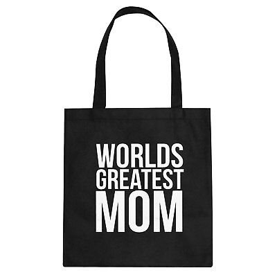 Tote Worlds Greatest Mom Cotton Canvas Tote Bag #3396