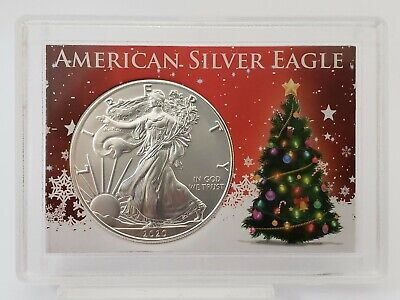 "2018 1 oz American Silver Eagle $1 Coin ""Christmas Santa Claus"" Gift Case"