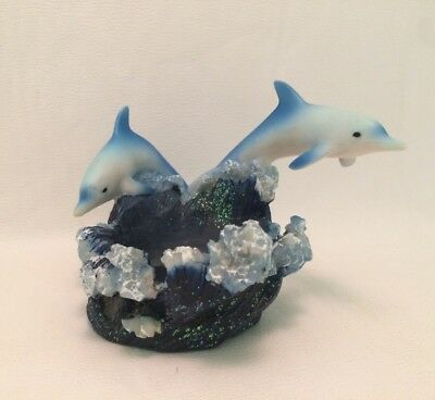 Blue Dolphin 3D Candle Holder Blue Sparkles