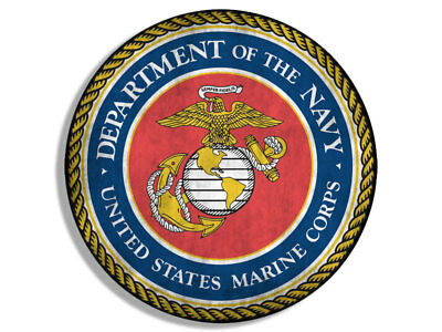 4x4 inch VINTAGE Round MARINES Seal Sticker - logo old distressed usa military