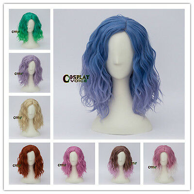 Halloween 45cm Heat Resistant Curly Medium Long Anime Cosplay Wig+Cap 14 Colors