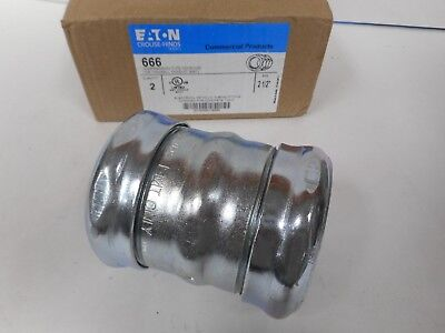 """Qty 8 Eaton Crouse-Hinds 666 Compression Coupling, EMT Steel Zinc Plated 2-1/2"""""""