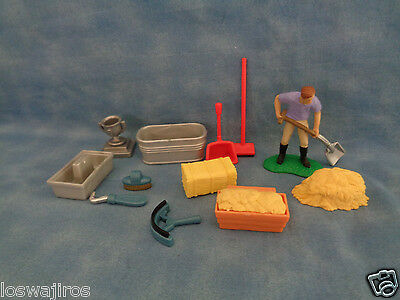 Lot of 12 Plastic Horse / Stable Accessories & Figure w/ Shovel
