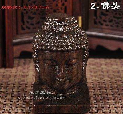 Exquisite Chinese Delicate wood carving Buddha head statue