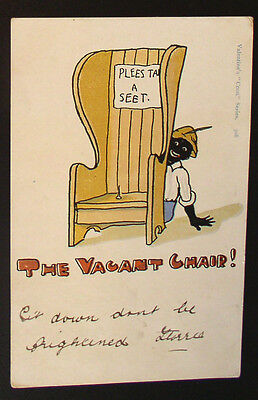 """Racist  Valentine's """"Coon"""" Series Post Card - C. 1910  """"The Vacant Chair"""""""