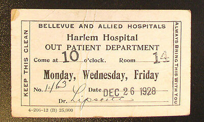 1928 Harlem Hospital Out Patient Card