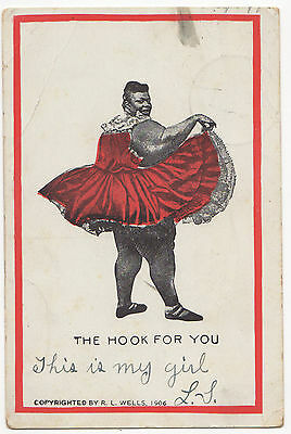 """Racist Valentine Post Card - C. 1906 """"The hook For You"""""""