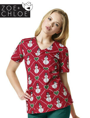 Z12202 Fair Isle Christmas Print Nurses Scrub Top