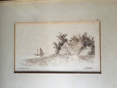 Antique genuine engraved etching by Louis K Harlow