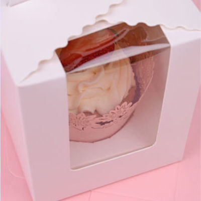 Single Cupcake / Muffin / Fairy Cake Boxes With Clear Window Gift Box Pink 10P