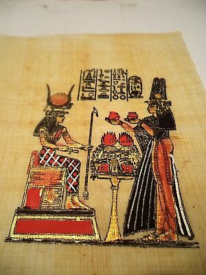 Egyptian Papyrus Painting  Isis an Nefertari Hand Painted