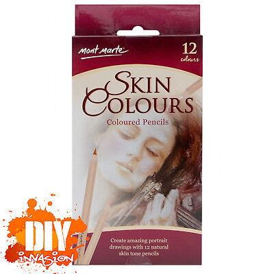 Mont Marte Skin Tone Colours Coloured Pencil 12 Pk Drawing Sketching Portraits