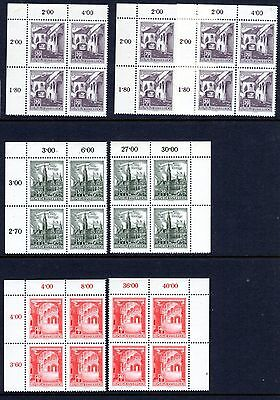 AUSTRIA 1957 Buildings MNH Value blocks and strips