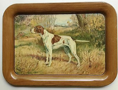 """1940s A.C. Co. Tin Litho Tray POINTER Hunting Dog by Ole Larsen 17 1/2"""" #1"""