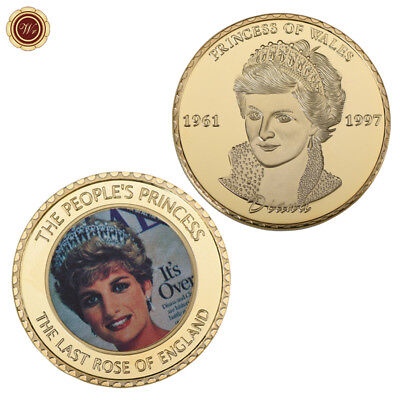 WR 24K Gold Princess Diana - The Last Rose of England Souvenirs Medal Coin Gifts