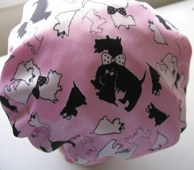 CHILD  SATIN SHOWER CAP TOO CUTE WATER PROOF bLACK & WHITE scotty  Westie  dogs