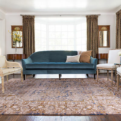 Blue Gold Traditional Floor Rug Allover Distressed Persian Carpet 160x230cm