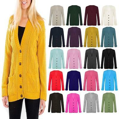 0314a4342250 Womens Chunky Cable Knitted Ladies Boyfriend Granddad Pocket Button Top  Cardigan