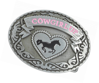 Buckle Rage Adult Womens Cowgirl Up Rodeo Western Horse Oval Belt Buckle Silver