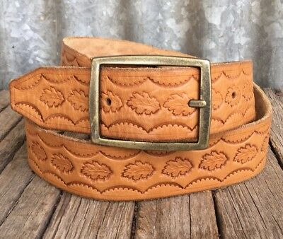 VINTAGE Tan TOOLED LEATHER BELT Brass Buckle OAK LEAF PATTERN