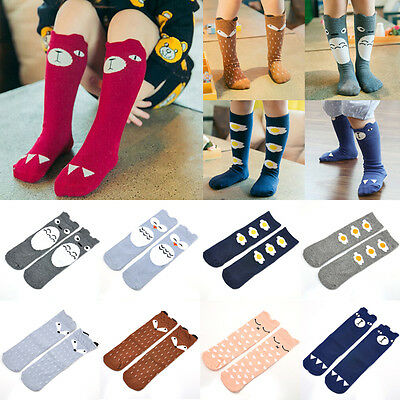 Cute Cartoon Cotton Baby Kids Girls Toddlers Knee High Socks Tights Leg Age 0-6