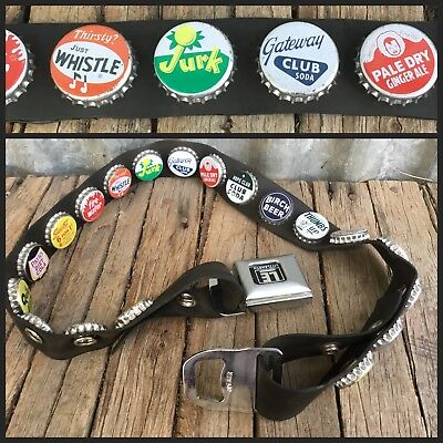LITTLE EARTH BOTTLE CAP BELT Black Rubber SEAT BELT BUCKLE Soda Pop Art OPENER