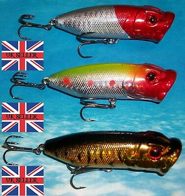"3 x 12g 70mm 2.5"" RATTLING FLOATING SURFACE POPPER BASS PIKE FISHING LURES"