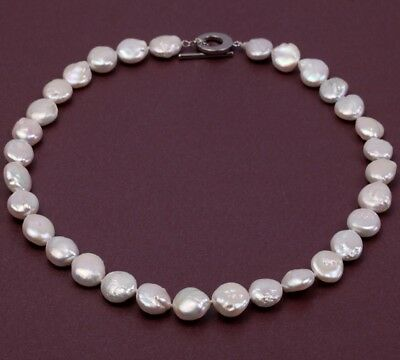 """Fashion 11-12mm White Button Freshwater Natural Cultured Pearl Necklace 18"""""""