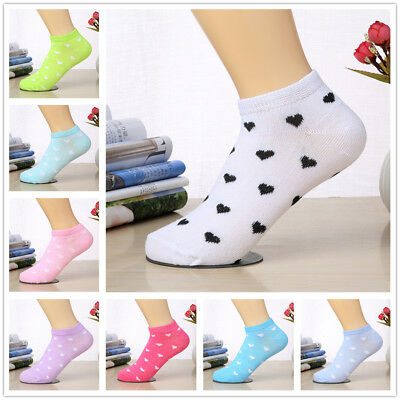 3 Pairs Women Candy Color Casual Cotton Blend Sock Heart Dots Low Cut Ankle Sock